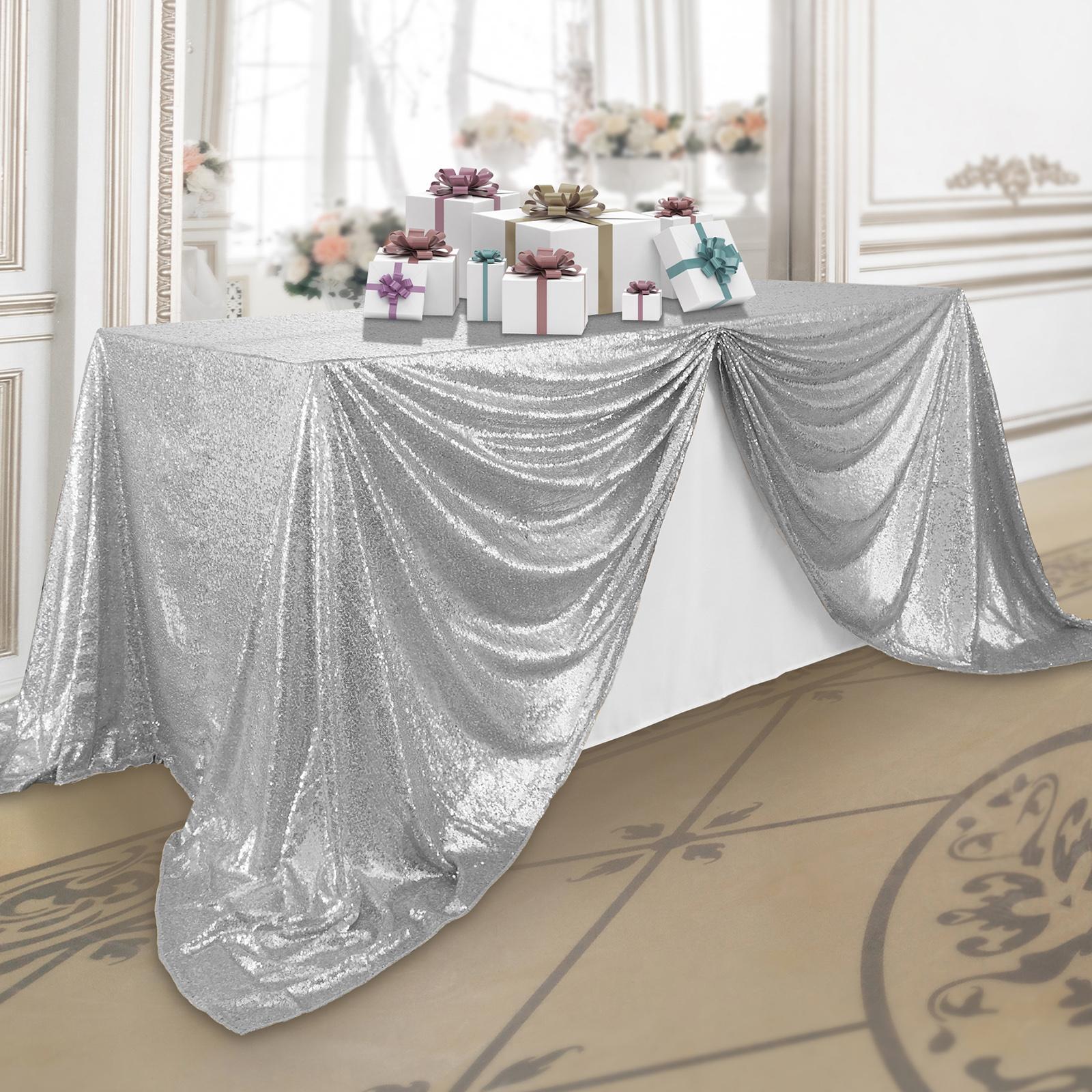 "Lann's Linens 90"" x 132"" Silver Sequin Tablecloth, Sparkly ..."